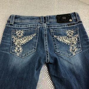 Miss me jeans winged cross blue jeans 30 boot